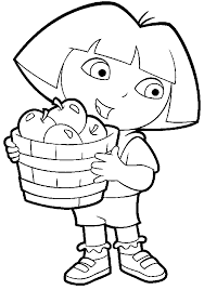 Dora With Fruits Basket Coloring Page Download