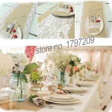 30x180cm Vintage Burlap Lace Hessian Table Runner Natural Jute Country Party Wedding Adornment Decoration Rustic