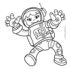Spaceman Girl In The Space Coloring Pages For Kids Printable Free