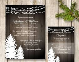 Winter Wedding Invitation Pine Tree Invite Rustic String Of Lights Suite