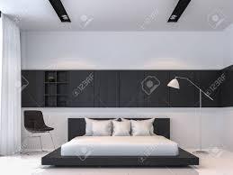 moderne schwarz weiß schlafzimmer innenraum minimal stil 3d rendering image there sind weißer boden möbliert mit schwarzen holzmöbeln