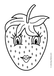 Fruits Coloring Pages Printable This Page Contains Cute Cartoons Apple And Basket For Toddlers Kindergarten