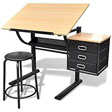 Easel Desk With Stool by Costway Tiltable Tabletop Drawing Board Table Art Craft Drafting