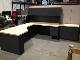 furniture black l shaped desk with hutch plus storage and