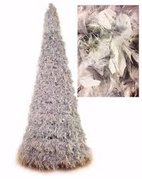 Christmas Tree 7ft by 7ft Heather Grey Feather Tree With Silver Tinsels Angelwreaths Com