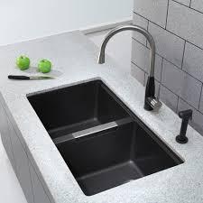 Kraus Kitchen Faucets Canada by Kraus Kgu434b 33 Inch Undermount Double Bowl Granite Kitchen Sink