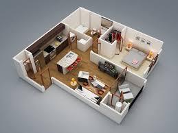 General Modern 1 Bedroom 1 Bedroom Apartment House Plans