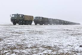 Military Trucks Move In Snow-covered Depopulated Zone - China Military
