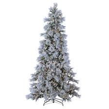 9 Ft Flocked Pencil Christmas Tree by Sterling 9 Ft Indoor Pre Lit Lightly Flocked Snowbell Pine With