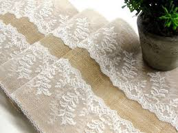 Burlap And Lace Table Runner Wedding Rustic Shower Party Decor Handmade In The USA Country Deco