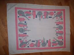 Vintage 50s Mid Century Modern Pink Grey Bottle Print Table Runner Tablecloth Retro Atomic Pad Kitchen Kitsch