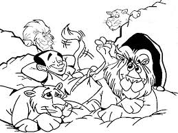 Daniel Relaxed With The Lions In And Den Coloring Page