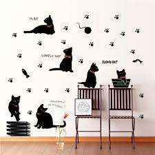 black cat with bow tie and paw wall art mural decor cartoon cat