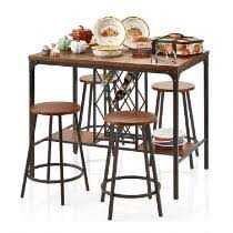 Metal Wood Pub Dining Table And Chairs Set 5 Piece