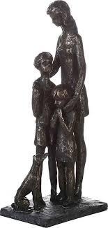 casablanca by gilde dekofigur skulptur familie 1 stück dekoobjekt höhe 28 cm aus metall und holz baumscheibe wohnzimmer
