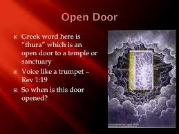 """Greek word here is """"thura"""" which is an open door to a temple or"""