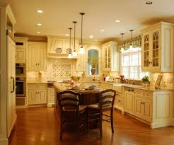KitchenAstonishing Traditional Kitchen With Beige Paint And Narrow Island Wood Floor The Style