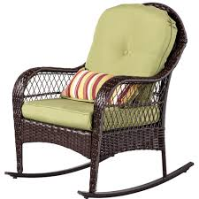 Sundale Outdoor Wicker Rocking Chair Rattan Outdoor Patio Yard Furniture  All- Weather With Cushions (Green)