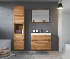 badezimmer badmöbel set montreal 60cm waschbecken wotan braun unterschrank hochsc