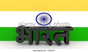 Hindi Characters Made Of Dark Metal Meaning India In Front An Indian Flag