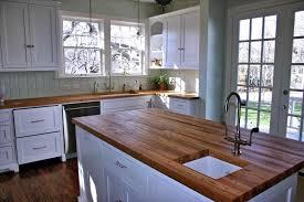 Kitchen White Country With Butcher Block Islands Portable Island Countertops Farmhouse Design