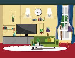 familienszene wohnzimmer sofa fernseher raum clipart