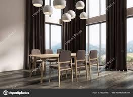 White Dining Room Corner Black Curtains Dark Stock Photo