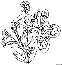 Butterfly And Flower Colouring Pages