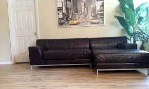 Ikea Sectional Sofa Bed by Ikea Kramfors Lshape Genuine Leather Sectional Youtube