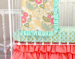 Teal And Coral Baby Bedding by View Coral Bedding By Lottiedababy On Etsy