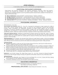 Resume Objective Restaurant Supervisor Sample Resumes Server Examples For Restaura