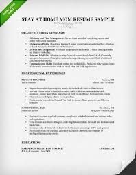 Stay At Home Mom Resume Experienced 2015