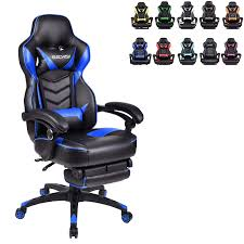 ELECWISH Ergonomic Computer Gaming Chair, PU Leather High Back Office  Racing Chairs With Widen Thicken Seat And Retractable Footrest And Lumbar  ...