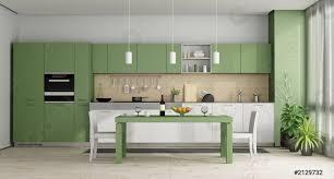 Modern White Kitchen Interior 3d Rendering Stockfoto Und Stock Photo Green And White Modern Kitchen 3d Rendering