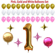 Pink White And Gold Birthday Decorations by First Birthday Decoration Pink White Gold Balloons Set Perfect For