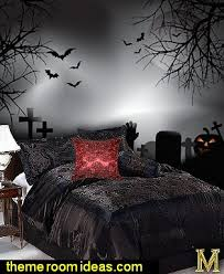 Zombie Graveyard Wall Mural Gothic Style Taffeta Rose 3D Design