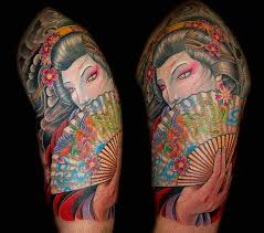 Colored Asian Geisha Girl Tattoo