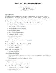 Resume Examples For Banking Of Resumes Investment Example Career Objective
