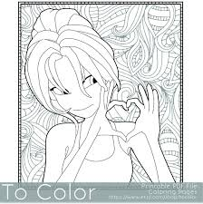 This Printable Coloring Page For Grownups Features A Girl Making Heart Sign With Her Hands