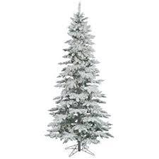 Pre Lit Flocked Artificial Christmas Trees by Amazon Com Vickerman 9 U0027 Flocked Slim Utica Fir Artificial