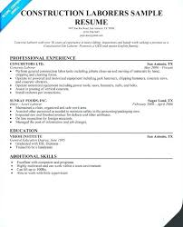 Construction Labourer Resume Examples Best Solutions Of And Samples Creative Template