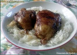 cuisine avec du riz poulet roti à la mauricienne avec sauce soja et du riz http