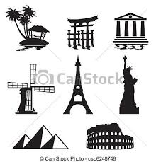Landmarks Icons Black And White Set