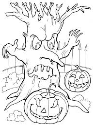 Haunted Tree Halloween Coloring Page