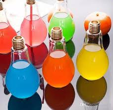 creative eye catching light bulb shape tea fruit juice drink