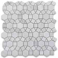 carrara white 1 1 2 inch hexagon sunflower mosaic tile polished