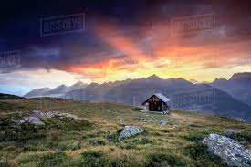 100 Muottas Muragl Wooden Hut Under Fiery Sky And Clouds At Sunset St