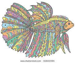 Zentangle Doodle Cartoon Betta Fish