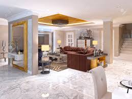 luxuriöses wohnzimmer stil deco in weiß gold und beige farbe maroon polsterung und integriertem speicher für den fernseher 3d übertragen