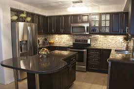 KitchenModern Minimalist Dark Kitchen Design With Mosaic Backsplash And U Shape Wood
